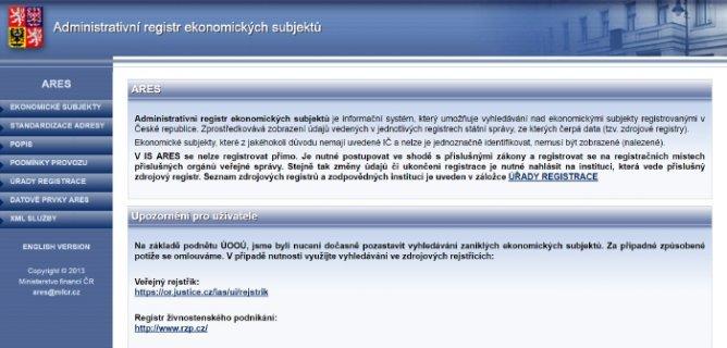 Administrativní registr ekonomických subjektů